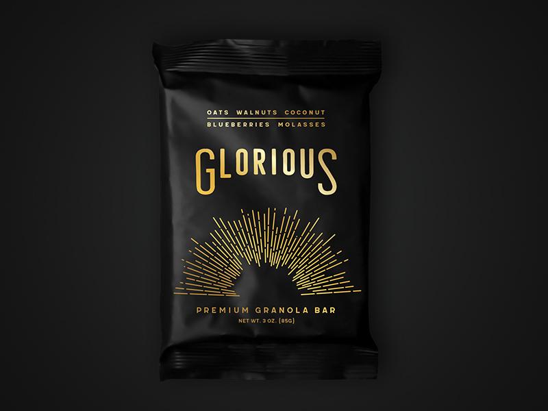 Glorious Packaging Mockup metallic matte black gold food packaging