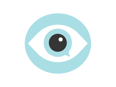 Real-eyes-ation speech bubble logo eye