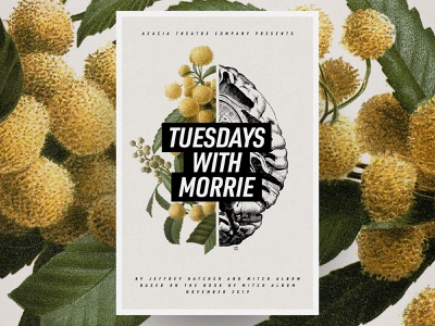 Tuesdays With Morrie brain flowers anatomical botanical illustration theatre poster