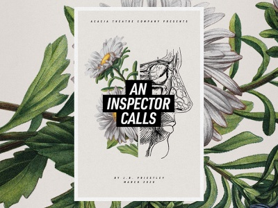 An Inspector Calls eye daisies theatre poster flowers botanical illustration anatomical