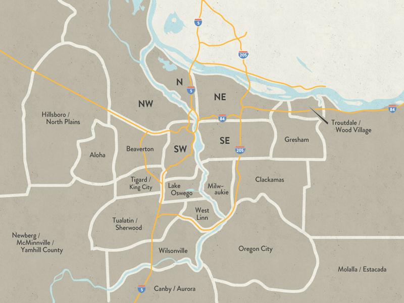 Map of Portland by Zack Goehner on Dribbble