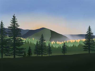 Krkonoše Mountains Illustration procreate modern illustration