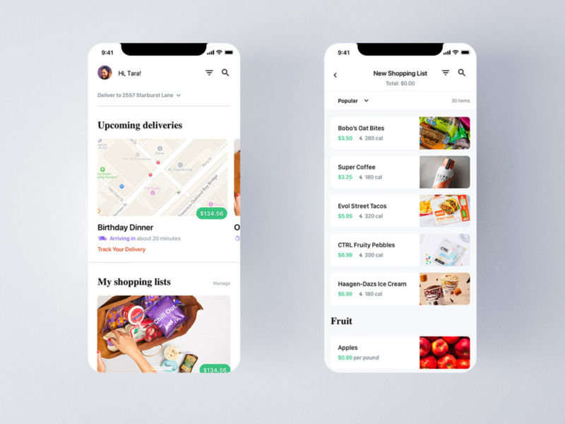 GoMrkt: Concept Grocery Delivery App UI (pt 2) colorful green iphone x ios app design mobile apps ios ui delivery app shopping list horizontal scroll list ui list view mobile ui mobile app design mobile app ios app ios grocery app food application app design