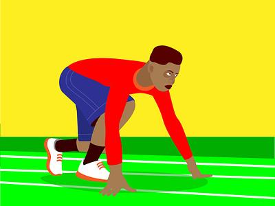 На старте ui design на старте бегун вектор иллюстрация стиль иконка персонаж люди спорт
