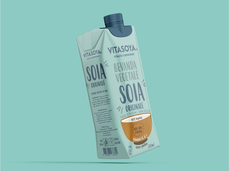 Vitasoya restyling made in italy packaging label organic soya milk soy branding