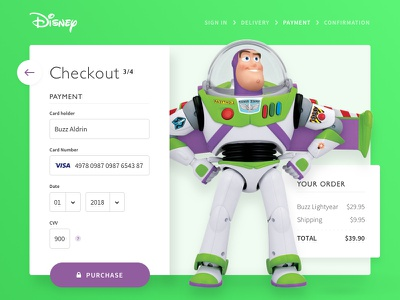 Daily UI #002 Credit Card Checkout lightyear buzz disnye card payment credit card checkout ui ux concept