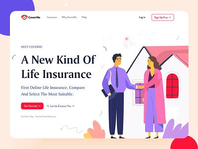 CoverMe Landing page agency app design startup business branding illustration flat landing page clean minimal