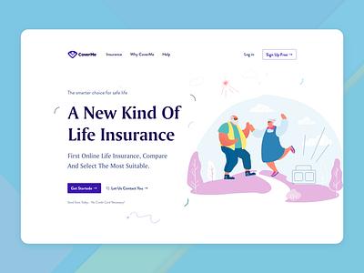 Life Insurance || Website trend uiux design minimal clean flat agency landing page illustration insurance company insurance pensions insurance app