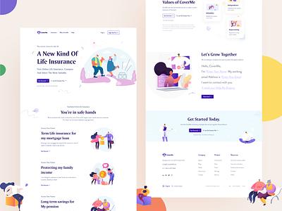 Life Insurance || Website minimal clean flat ui ux agency illustration freelance insurance company insurance pensions insurance app landing page