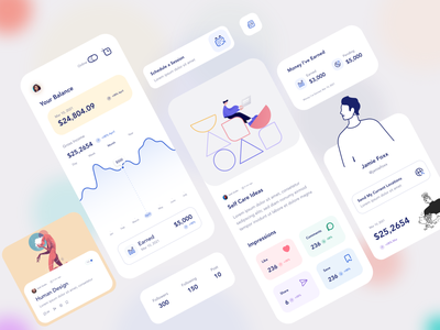 App UI flat design ux ui clean minimal android ios app user profile balance card blog post