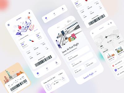 Flight Booking App design logo branding illustration ux ui flat clean minimal boardingpass booking system flight search booking app airplane travel plane booking flight app