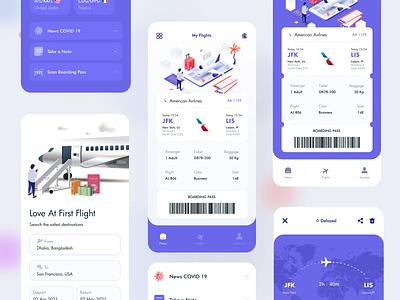 Flight Ticket Booking App design illustration ux ui flat clean minimal boardingpass booking system flight search booking app airplane travel plane booking flight app
