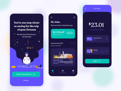 Savings App ios app design illustration ux ui flat clean minimal payments digital payments mobile banking invest saving goals