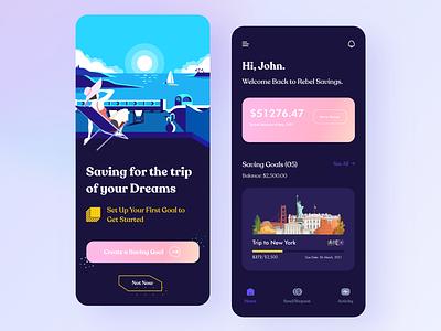 Mobile App UI | Banking ios app ux ui flat clean minimal wallet banking app financial app banking bankingapp payment payment app invest saving goals mobile banking digital payments payments