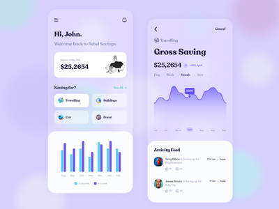 Mobile App UI | Banking illustration ux ui flat clean minimal appale ios banking app wallet financial app payment app invest payments digital payments mobile banking saving goals banking