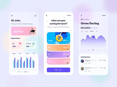 Mobile App UI | Banking ux ui flat clean minimal appale ios banking app wallet financial app payment app invest payments digital payments mobile banking saving goals banking
