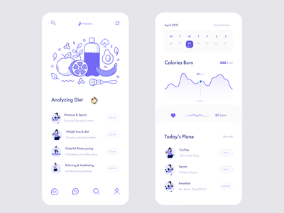Fitness & Nutrition App ui ux clean minimal foods healthy calories health care nutrition nutrition app food app diet app calories counter diet fitness workout gym yoga running weight