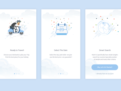 Travel Onboarding screen travel onboarding intro  ios broadcast registration ui ux signup interaction design illustrations explainer graphics app android