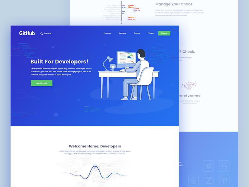 Github || Landing Page github ux ui white web landing page light minimal clean flat design