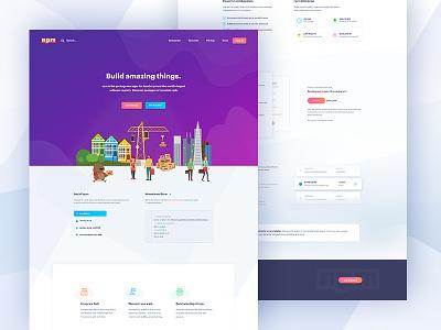 npmjs || Landing Page node npm creative gradient  color integration uidesign   webdesign webpage ui ux white clean light web website minimal landing page
