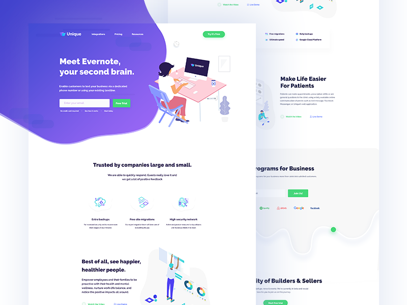 Startup || Landing Page  trend  startup  flat  colour  business  ux  ui  software house  minimal  landing page  clean agency
