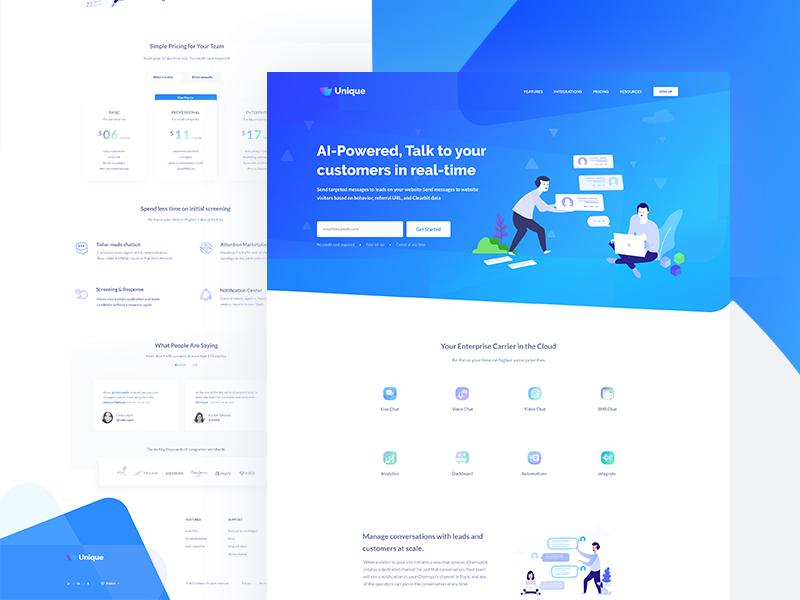 ChatBot || Landing Page minimal trend flat colour website web design ux ui landing page gradient clean chat