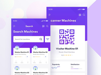Washer Machine Finder Mobile App card qr code scanner search cards feed gradient machine washer ios 11 iphone x