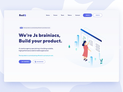 redQ  ||  Agency Landing Page agency business clean color flat landing page minimal software house startup trend uiux