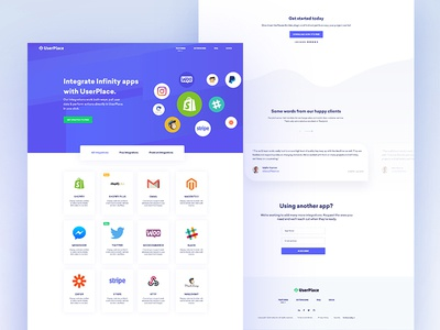 Userplace || integrations page integrations subscription uiux plugin membership software house minimal flat color clean business agency