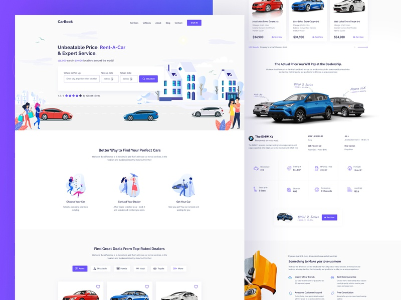 Car Rent   ||   Landing Page car club car app ui  ux design illustration clean minimal automotive design bmw audi travel ridesharing car booking carbook reality landing page rent car exploration automotive