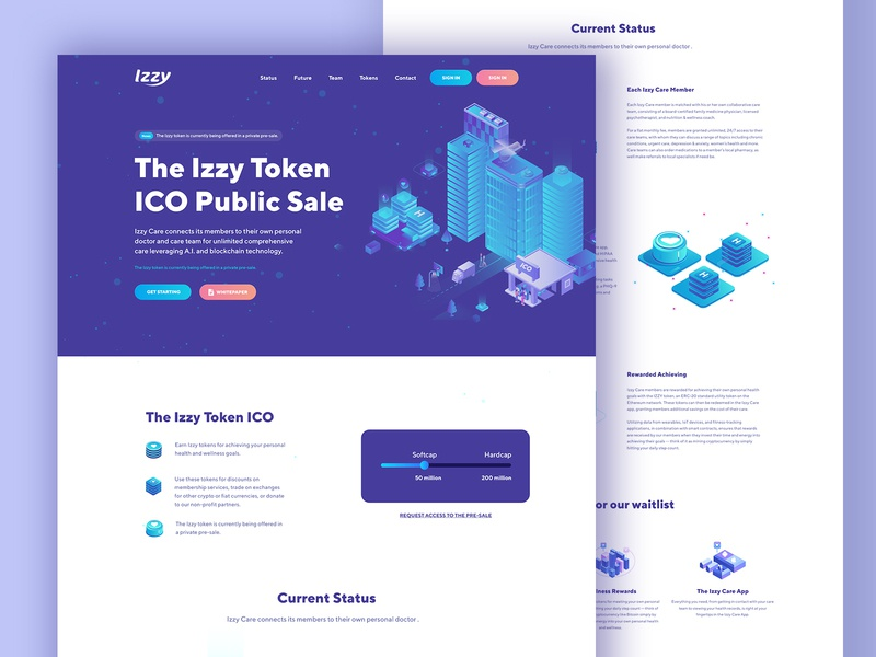 ICO Landing design clean illustration landing page concept bitcoins mining cryptocurrency exchange cryptocurrency webdesign uxdesign minimal landing page ethereum crypto trading crypto exchange crypto wallet crypto currency crypto bitcoin services bitcoin