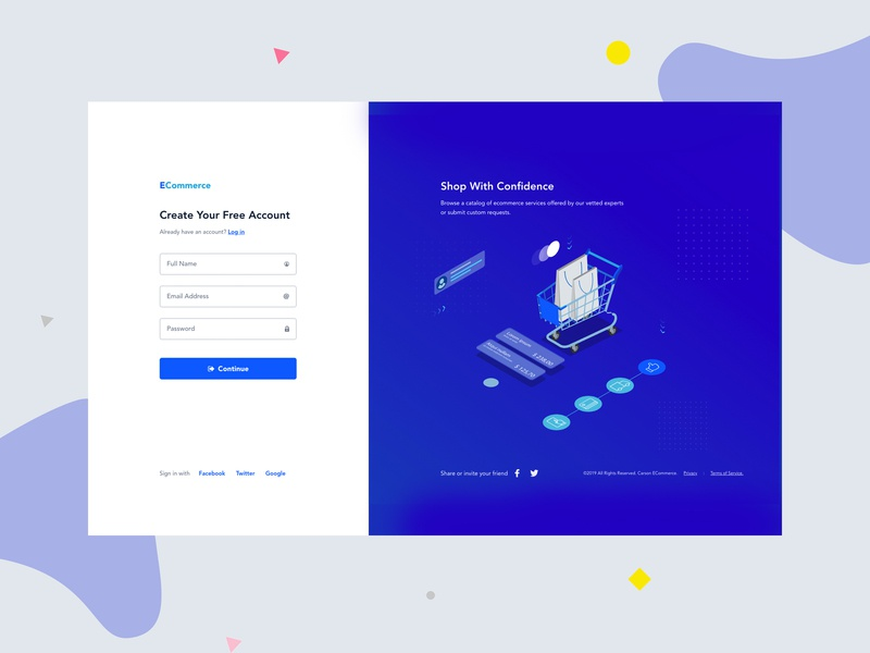 Login Page trend startup ux ui flat clean minimal ecommerce business ecommerce app ecommerce landing page isometric illustration gradient chat app registered typography register form register login