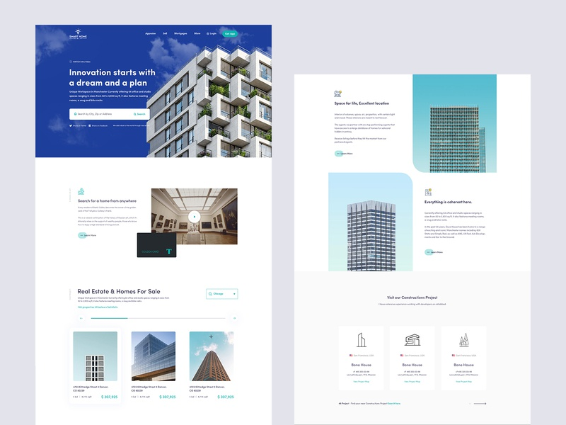 Smart Home Realty flat clean landing page minimal building company apartment building apartments property developer property management property listing agency branding agency search real estate branding real estate agency real estate agent real estate property houses home