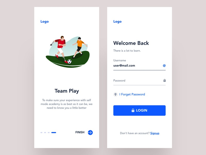learn football || Onboarding process branding startup color xd uiux design trend app ux ui illustration minimal flat clean soccer ball soccer app soccer learn football football club football