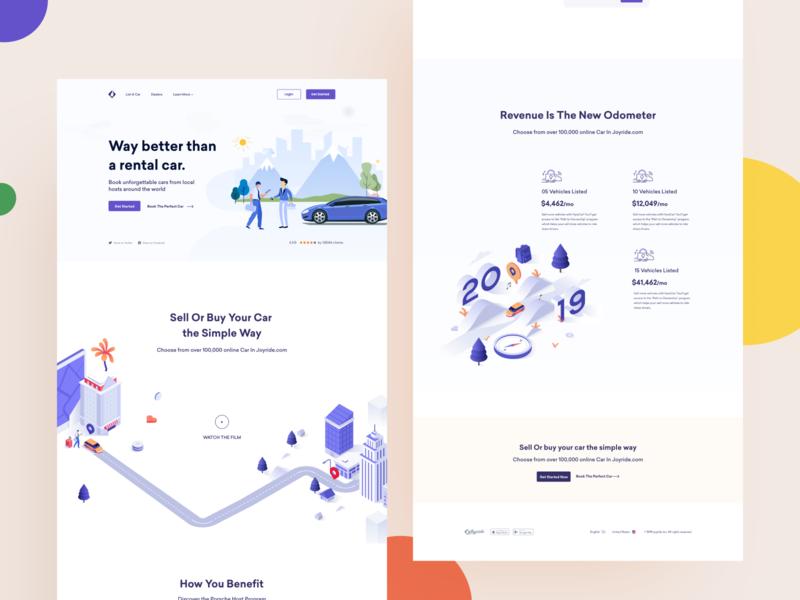 joyride | Landing page design business app ui flat ux startup vector typography branding minimal clean illustration agency landing page