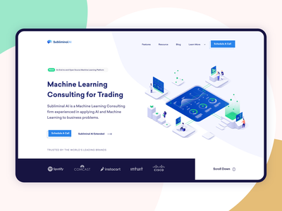 Artificial Intelligence    Landing page software house business startup illustration ux ui flat clean minimal landing page software development machine learning