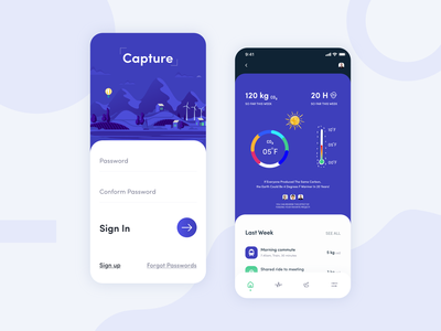 Capture App flat clean minimal air pollution environment pollution app design natural carbon footprint global warming climate change co2 carbon fiber carbon app login sign in sign up