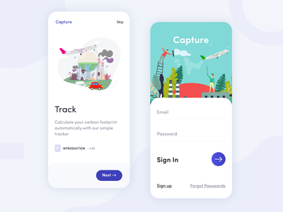 Capture App flat clean minimal illustration sign in sign up environment pollution iphonex global warming natural app design climate change carbon footprin carbon fiber application carbon air pollution