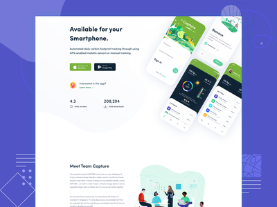 Capture.club  || Landing Page green global warming environment pollution carbon footprin iphonex ios app design app carbon fiber carbon uiux trend startup business agency landing page minimal clean flat illustration