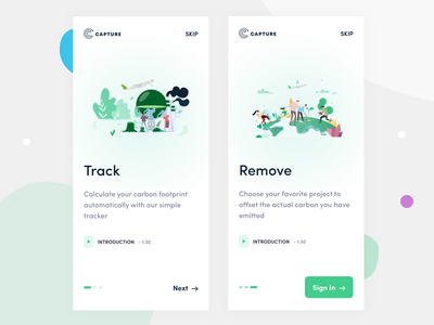 Capture App || Onboarding Process clean climate change application global warming environment pollution carbon footprint carbon fiber carbon natural landing page minimal illustration onboarding ui ios onboarding illustration onboarding screen