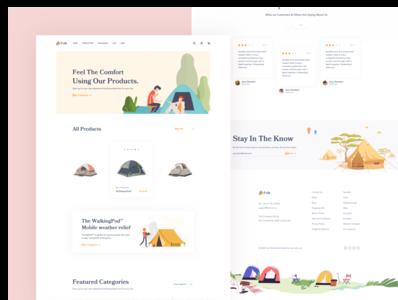 Folk Tents || Landing Page agency illustration flat clean minimal card illustration art ux ui web design landing page sales ecommerce shop ecommerce sports sport