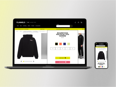 Flannels product page redesign ecommerce sneakers luxury branding figma ui