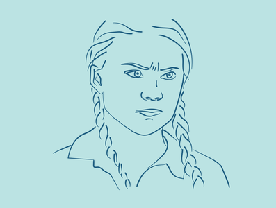 Greta Thunberg Illustration blue portrait illustration portrait line drawing art drawing minimal graphic design vector illustration