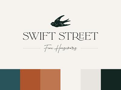 Swift Street Primary Logo branding design minimal design vector logo design illustrator warm tones bird typography illustration graphic design logo branding