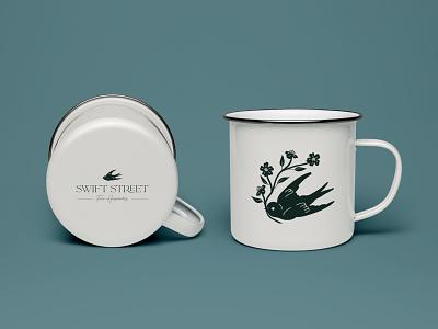 Swift Street Branded Mug logo illustrator bird branding design icon logo design minimal branding illustration graphic design
