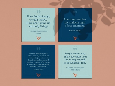 Quote Cards for the Liberty Collective print design print branding design typography design illustrator vector branding illustration graphic design