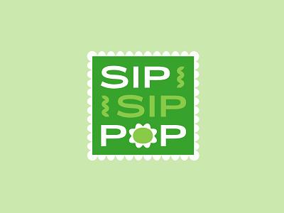 Sip Sip Pop Soda Brand packaging design pop colorful green logo design brand beverage branding logo graphic design soda
