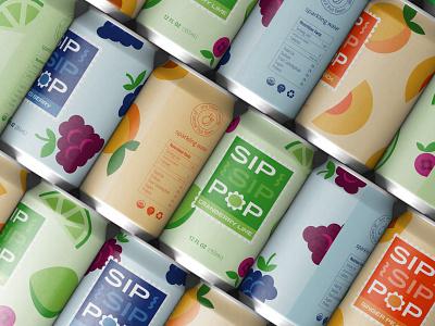 Sip Sip Pop Can Packaging pop fruit seltzer sparkling water food and bev label beer label can beverage soda packaging design branding graphic design