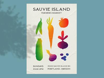 Sauvie Island Farmers Market Poster shape colorful gradient grainy grain typography minimal design vector illustration branding graphic design weekly warmup