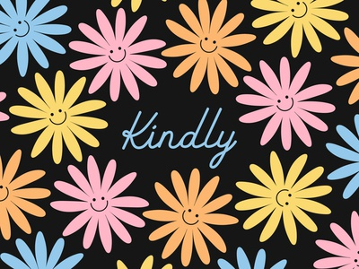 Kindly Logo and Brand Pattern logo motif pattern love kind positivity pastel flower smile custom script typography minimal design vector illustration branding graphic design